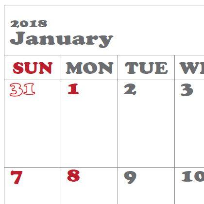 トラベラーズノートパスポートサイズ カレンダーPDF_SUNDAY